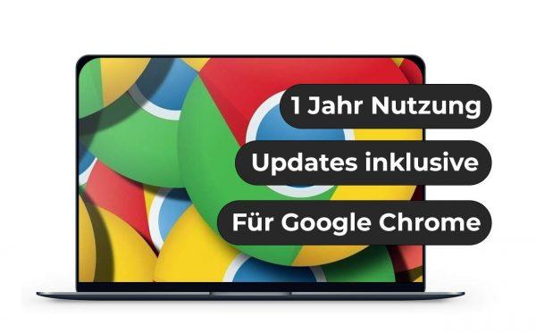 """Das Bild zeigt einen Laptop, auf dessen Bildschirm das Logo von Google Chrome in mehrfacher Ausführung zu sehen ist. Ebenso steht da: """"1 Jahr Nutzung"""", """"Updates inklusive"""", """"Für Google Chrome"""""""