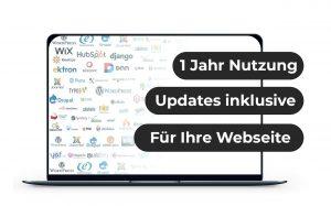 """Das Bild zeigt einen Laptop, auf dessen Bildschirm viele Icons von Webseiten-Systemen zu sehen ist. Ebenso steht da: """"1 Jahr Nutzung"""", """"Updates inklusive"""" und """"für Ihre Website"""". Es ist das Produktbild der Webseitenerweiterung."""