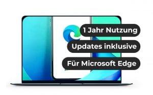 """Das Bild zeigt einen Laptop, auf dessen Bildschirm das Logo von Microsoft Edge zu sehen ist. Ebenso steht da: """"1 Jahr Nutzung"""", """"Updates inklusive"""", """"Für Microsoft Edge"""""""