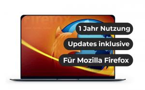 """Das Bild zeigt einen Laptop, auf dessen Bildschirm das Logo von Mozilla Firefox zu sehen ist. Ebenso steht da: """"1 Jahr Nutzung"""", """"Updates inklusive"""", """"Für Mozilla Firefox"""""""