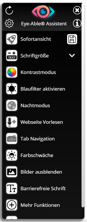 Die Eye-Able Toolbar. Sie zeigt alle Funktionen von Eye-Able und ist schwarz.