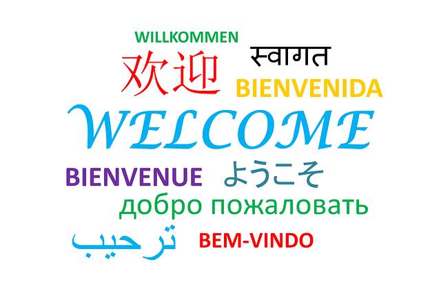 """Hier ist der Schriftzug """"Willkommen"""" in verschiedenen landessprachen zu sehen."""