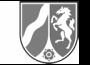 Das Logo von NRW - es zeigt einen Fluss und ein Pferd in einem Mittelalterlichen Wappen.